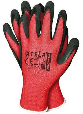 24 Pairs Latex Coated Safety Work Gloves Garden Grip Mens Builders Size 9/l Red