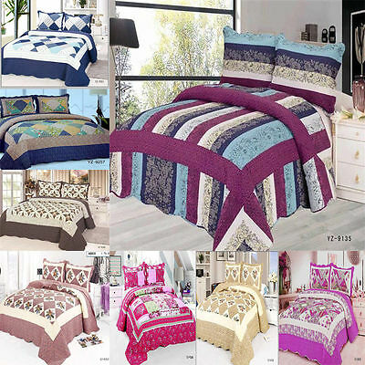 Quilted Comforter Bedspread Set 3 piece Quilted Bed Set Sizes Double & King Size