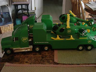 1999 BP GOLD OIL CHOPPER TRACTOR TRUCK + HELICOPTER Rare Limited Edition TWO