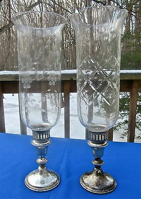 2 Antique Vintage Sterling Silver Weighted Candle Sticks Empire Glass Chimneys