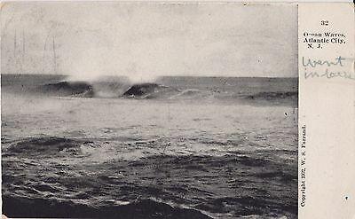 1907 Vintage Postcard Ocean Waves Atlantic City N.J.