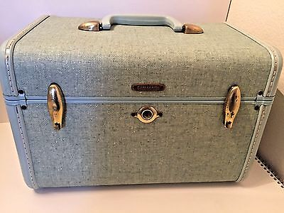Vintage Samsonite Blue Tweed Train Case Carry On Travel Hardshell Retro Decor