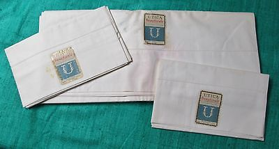 Antique Sheet & Pillow Case Set Never Used UTICA BEAUTYCALE Labels Double Size