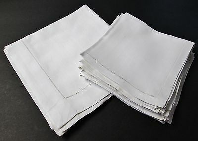 Vintage Woven Textured Linen Square Tablecloth & 10 Napkins Hemstitched