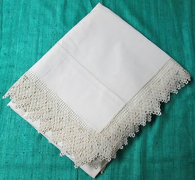 Antique Queen Top Sheet Ornate Hand Crocheted Filet Trim Hemstitched Beautiful!