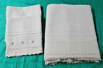 Antique Linen Sheet Set L M Monogram Crochet Trim Drawnwork MOP Button Closures