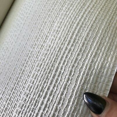 Woven Fabric Effect White Paintable Wallpaper - Add Texture To Your Walls - 10m