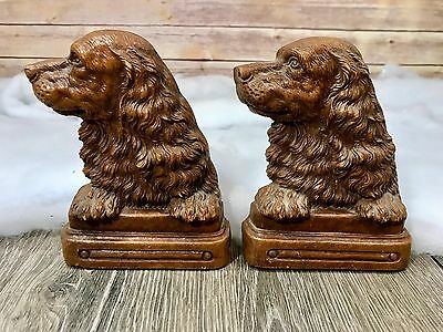 Pair Of Vintage Antique Springer Spaniel Dog Puppy Bookends Sirocco Wood Brown