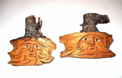2 Vintage Folk Art Bearded Man Faces From Piece Of Wood Tree Plaques
