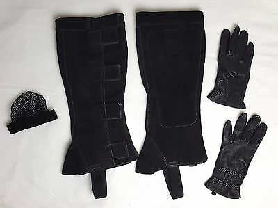 English Horse Equestrian Riding Suede Leather Half Chaps Gloves Hair Clip Net S