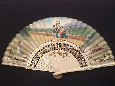 Vintage - Large  Fan- Hand Painted - Signed By Artist  - Made In Spain