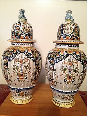 Pair Desvres Rouen French Antique Pottery Large Urns & Finial Tops XIX Boulogne
