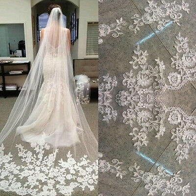 US Classic White/Ivory Lace Edge Cathedral Length Wedding Bridal Veil With Comb