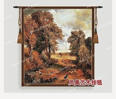 Tapestry wall hanging Autumn countryside landscape decor aubusson mural