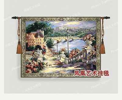 Tapestry wall hanging home decoration-town scenery landscape medieval mural