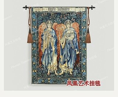 Tapestry Home textile decoration fabric-soft Angel play the zither Aubusson Wove