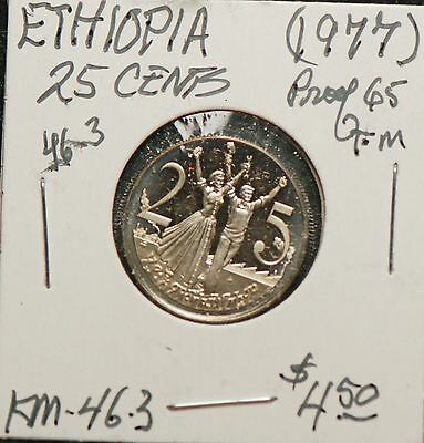 Ethiopia 1977 25 Cents, Proof, KM46.3                                       8lgm