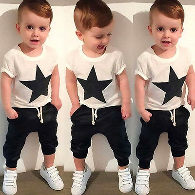 USA Toddler Kids Boys Star T-shirt Tops Harem Pants Outfits 2PCS Set Clothes