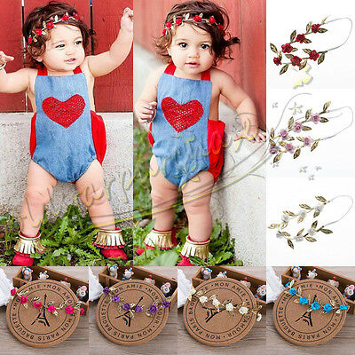Elastic Leaf Flower Hair Band Headband Headwear For Baby Girls Toddler Kids