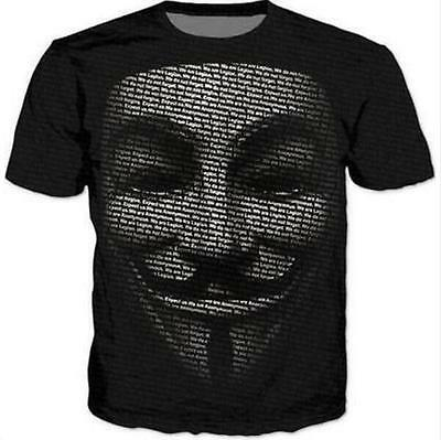 New Funny Unisex Fashion Women's Men's 3D print T-Shirt Anonymous Tops