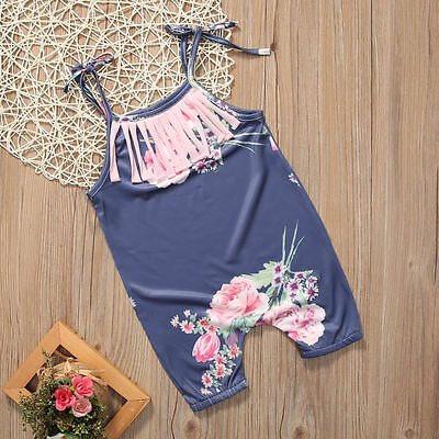 US Floral Toddler Baby Girls Romper Jumpsuit Bodysuit Sunsuit Outfits Clothes