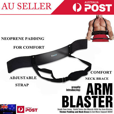 Arm Blaster Bar Curl Bicep Bodybuilding Training Fitness Weight Lifting Arms ZZ