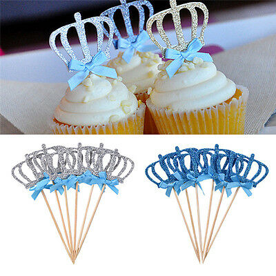 6pcs Glitter Crystal Crown Tiara Cake Topper Food Sticker Wedding Birthday Decor