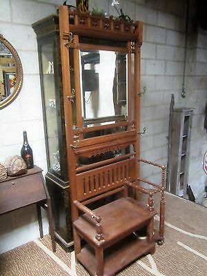 Antique Hall Tree with Mirror & Umbrella Stand