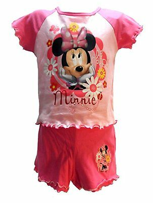 DISNEY MINNIE MOUSE - New Girls Pink Pyjamas Nigh Time Shorts Vest - All Sizes