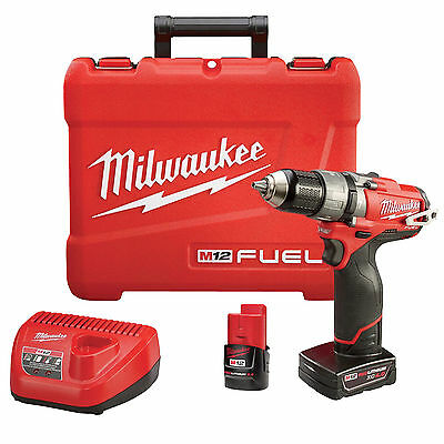 "12V M12 FUEL 1/2"" Hammer Drill/Driver Kit 2xBatt Kit OB Milwaukee 2404-22"