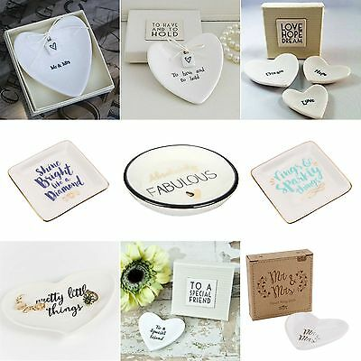 East Of India - Porcelain Love Heart Ring Dishes White Wedding Favour Gift