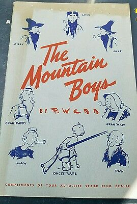 Vintage The MOUNTAIN BOYS Cartoon Booklet by P. Webb from AUTO-LITE Spark Plug