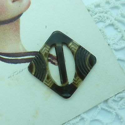 Small Brown Vintage Celluloid Buckle~Art Deco~Slide