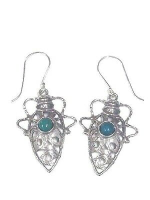 Silver 925 Earrings Ancient Roman Jewelry Style Antique Vessel