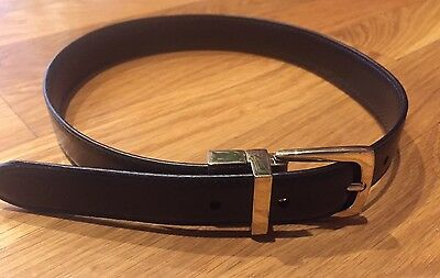 """Youth/Boys Leather Belt - Size 20"""" long - Black/Brown Reversible Brass Buckle"""