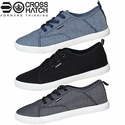 New Mens Crosshatch Designer Low Ankle Plimsole Sneakers Trainers All Sizes