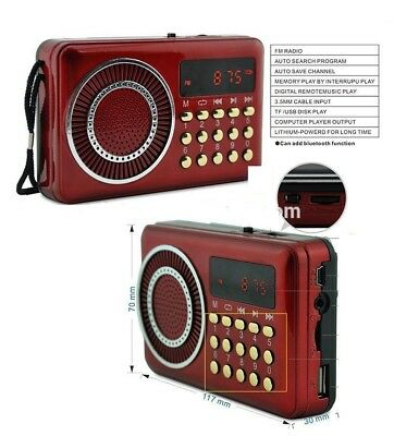 Fm Radio Portatile Tascabile Con Display Mp3 Usb / Micro Sd Tf / Jack
