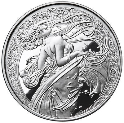 Alphonse Mucha 1 0z .999 silver coin DANCE #2 in Art series collection limited