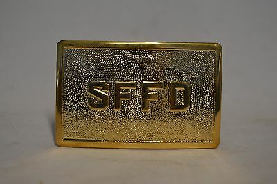 San  Francisco  Fire Department Sffd Polished Gold  Belt Buckle Nos