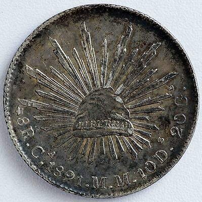 1891 Mexico Ca MM Silver 8 Reales Coin KM# 377.2 Toned  (LV#II)