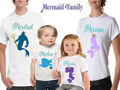 Mermaid Family T-shirts. Little Mermaid Birthday Family Tops. Mermaid Outfits.