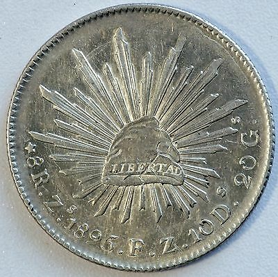 1895 Mexico Zs FZ Silver 8 Reales Coin (LV#MM)