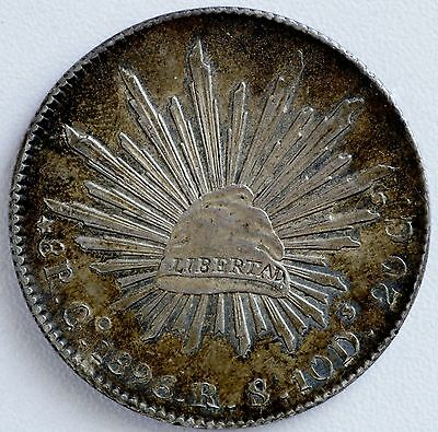 1896 Mexico Go RS Silver 8 Reales Coin Choice AU Toned (LV#HH)