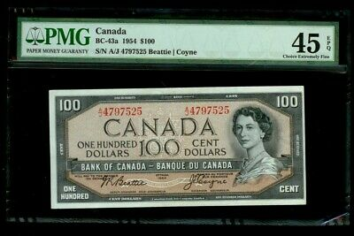 1954 Canada $100 Bank Note Beattie/coyne Pmg Choice Extremely Fine 45 Epq Bc-43A