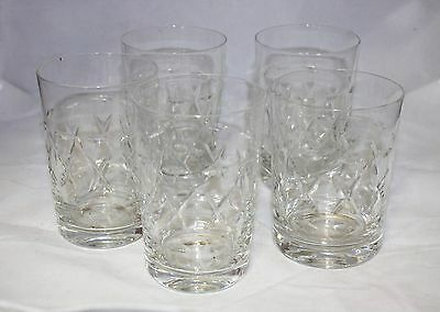 5 Cut Glass Crystal Tumblers / Glasses