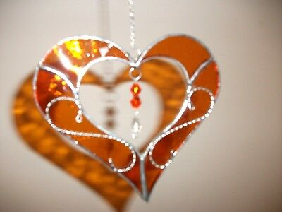 Stained Glass handmade Heart with wire sun-catcher / window decoration