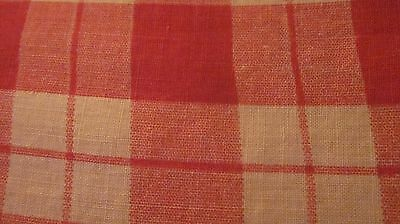 AAFA HANDSEWN Antique1800s Red & Whi Cotton HOMESPUN Pillow Cover Case SHAM  id