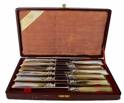 French Antique Empire Horn Handle 12 Dinner Knives - Knife Set by Letuaire