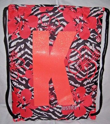 """Justice Beach Towel In A Bag Set FLORAL WITH LETTER """"K"""" FREE SHIP"""