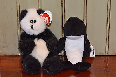 TY Beanie Baby Checkers Panda Attic Treasures 1993 Waves 1996 Orca Killer Whale